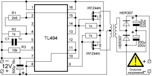 Автомобильный инвертор 12-220v: как сделать преобразователь напряжения своими руками по схеме