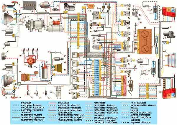 Электрическая схема ВАЗ 21214 (21213, 2121 и 2131) Нива инжектор и карбюратор с описанием проводки