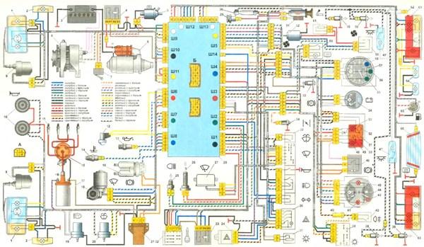 Cхема электрооборудования ВАЗ 2105 и 21053 инжектор и карбюратор: электросхема проводки с описанием
