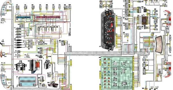 Электросхема ВАЗ 2114 инжектор 8 клапанов: схема электрооборудования и замена высоковольтных проводов